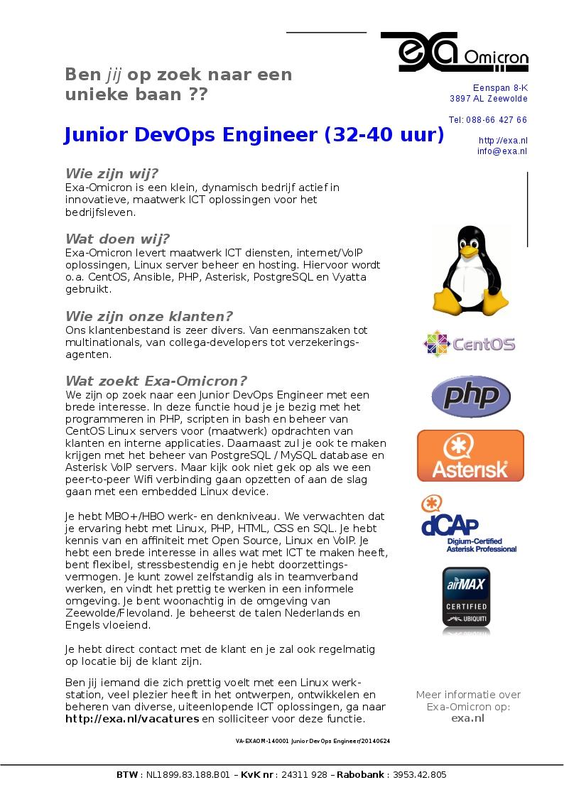 VA-EXAOM-140001 Junior DevOps Engineer